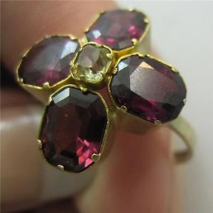 Superb late georgian almandine garnet yellow topaz  18ct quality ring